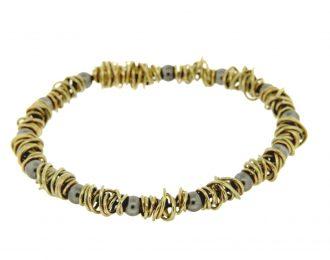 Endless Rope gouden armband 14 karaat met staal