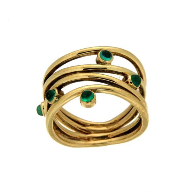 Geelgouden ring met Smaragd