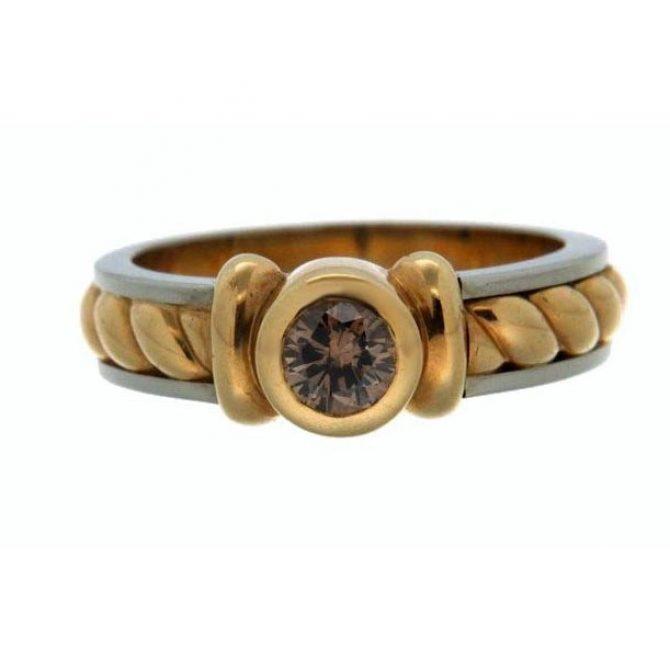 Bicolor ring bruine diamant