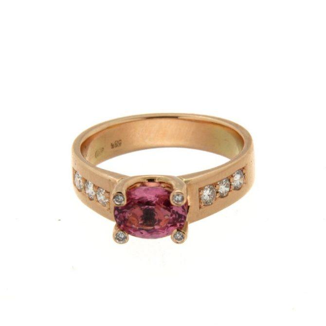 Rosé gouden ring Toermalijn