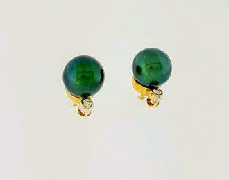 14 Karaat bicolor gouden oorknoppen met zwarte parel en diamantjes