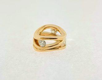 14 karaat roségouden Roll-over hanger met briljant geslepen diamant