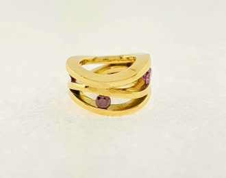 14 karaat geelgouden Roll-over hanger met paarse diamant