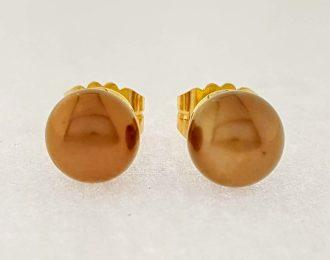 14 karaat gouden oorknoppen met goudkleurig bruine parels