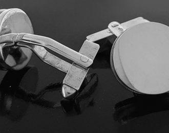 Zilveren stoere ronde manchetknopen