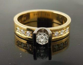 14 karaat bicolor gouden ring met u-zetting en diamant