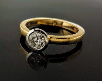 14 Karaat bicolor gouden ring met diamant