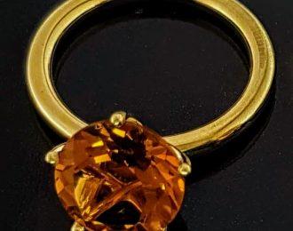 14 Karaat geelgouden ring met Palmier Citrien genaamd Penta.