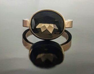 14 Karaat rosé gouden ring met ovale Rookkwarts