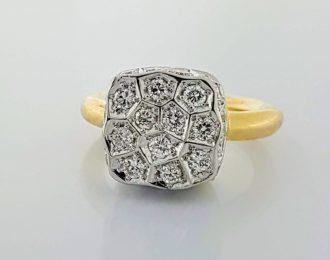 14 Karaat bicolor gouden ring met 27 diamanten