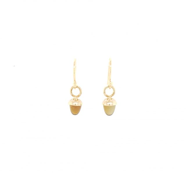 Gouden oorhangers met rookkwarts.