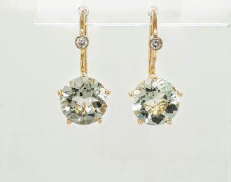 14 Karaat gouden penta oorhangers met mintquarts en diamant