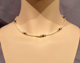 Zoetwater parelcollier met goud en Lapis Lazuli kraaltjes