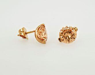 14 karaat rosé gouden oorstekers met cubic zirkonia uit eigen atelier