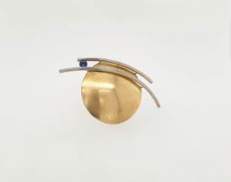14 karaat gouden bicolor broche met blauwe saffier; Full Moon
